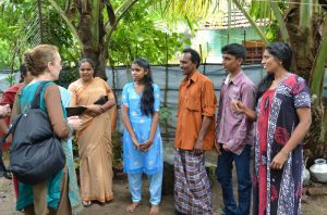 Board Member, Judy Warner, checking in with a sponsored family in India