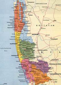 Map of Alleppey | Kerala State | India