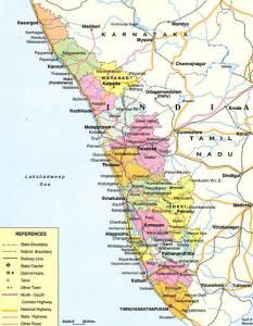 Map of Kerala, India