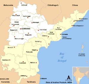 Map of Andhra Pradesh including 2014 division